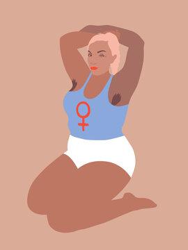 Confident black curvy woman