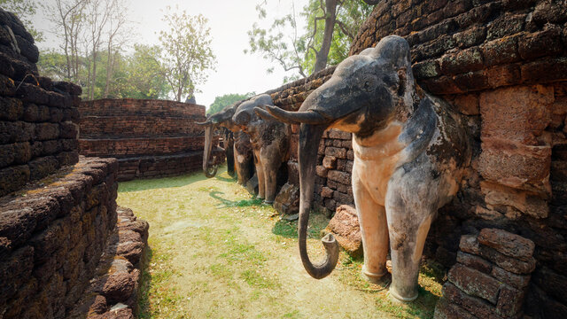 Ancient elephant sculpture at Wat Phra kaeo temple in Kamphaeng Phet Historical Park (a part of the UNESCO World Heritage Site Historic Town of Sukhothai and Associated Historic Towns) , Thailand