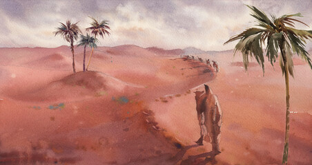 Watercolor Sahara desert landscape with camels. Wild nature tour. Original painting for banner, cards, interior.