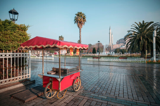 Istanbul Turkey, December 2020: Empty square in the city center during lockdown due to the new wave of Covid-19.