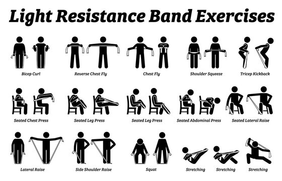 Light resistance band exercises and stretch workout techniques in step by step. Vector illustrations of stretching exercises poses, postures, and methods with resistance band.