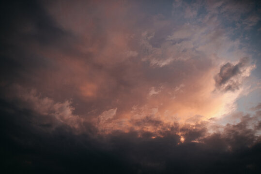 Romantic pink sky with clouds