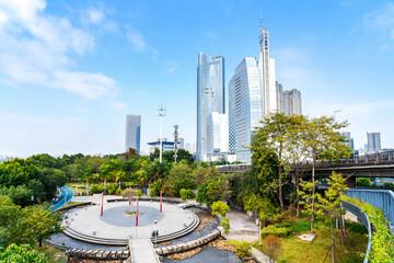 Skyline scenery of Fuzhou new city