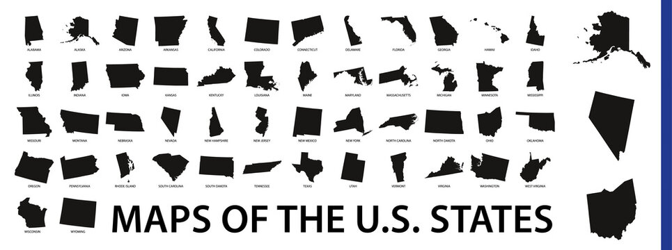 Collection of outline shape of US states map in black.