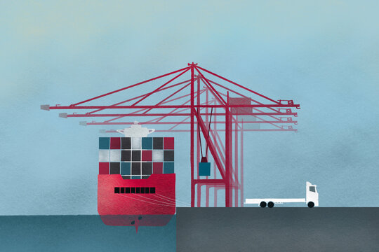 Container ship and truck