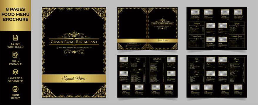 Food Menu Brochure Template, Luxury Menu simple style and modern layout