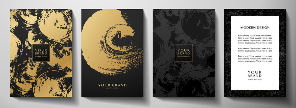 Modern black cover design set. Creative abstract art pattern with gold brush stroke (golden calligraphy texture) on background. Grunge vector collection for catalog, brochure template, magazine layout
