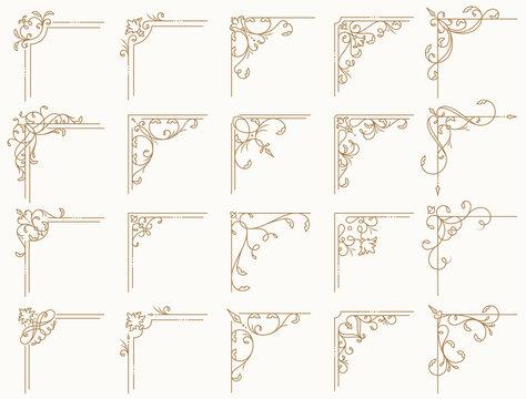 Vintage corners set. Vector decorative elements.