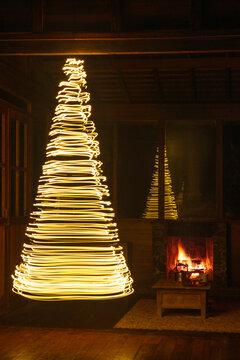 Christmas tree made of christmas lights