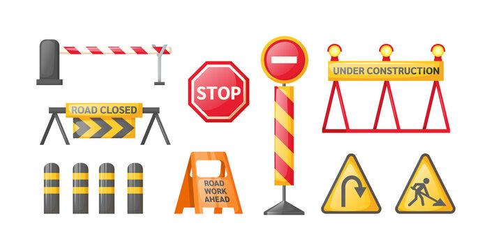 Traffic road repair barriers set. Safety barricade, roadblocks, warning alert signs. Construction fences, warning detour, repair hurdle, safety barricade warning for city street repair works