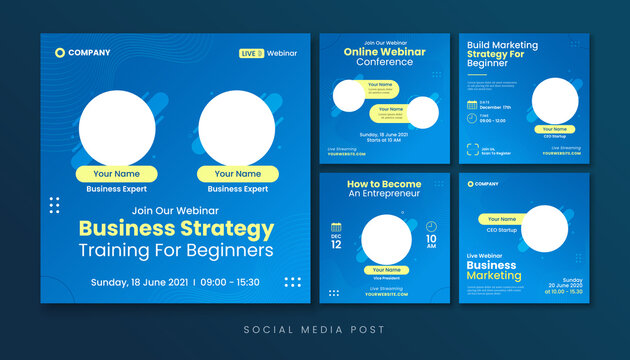 Business strategy webinar social media post template