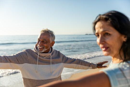 Senior Couple Enjoys Stretching