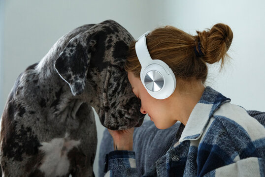 Young female listening to music petting dog