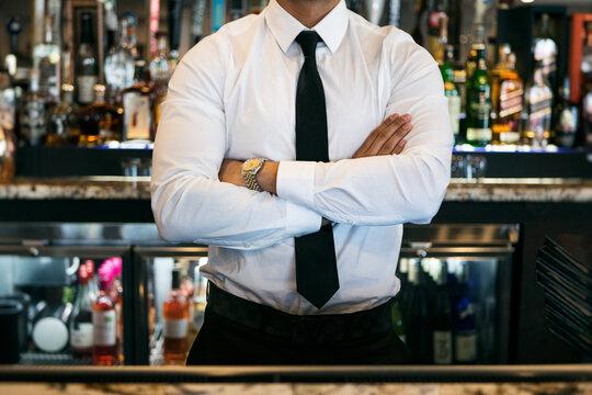Restaurant: Bartender Standing In Front Of Liquor Shelf