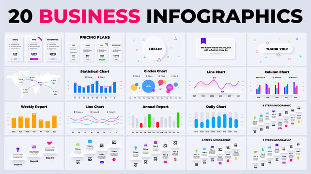 Neumorphic marketing charts. Vector business infographics. Presentation graph, diagram template. 3, 4, 5, 6, 7, 8 steps stairs. Finance report.