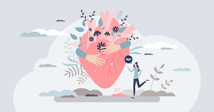 Self love with heart hug as mental healthcare and esteem tiny person concept