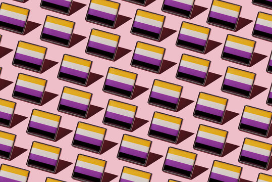mosaic of non-binary pride flags