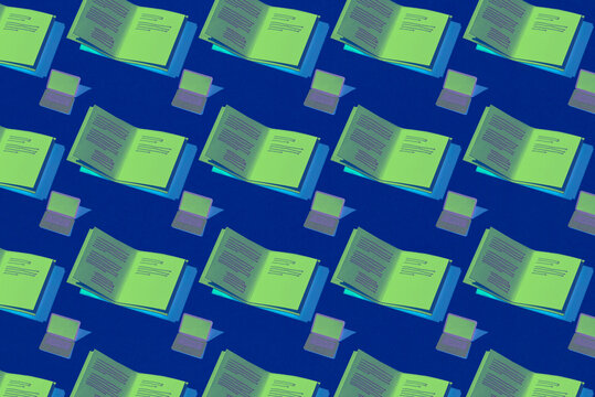seamless pattern of online education elements, laptop, book, knowledge concept design.