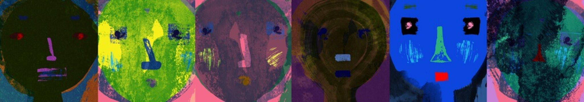 Faces Illustration Wide Format Banner