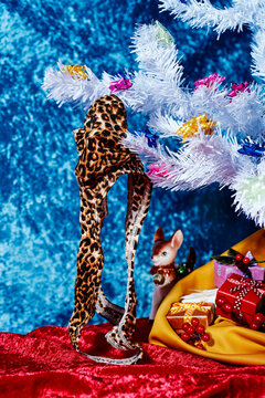 leopard thong on a christmas tree