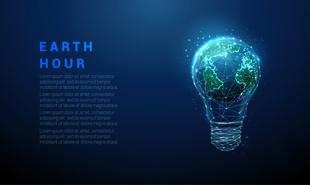 Abstract blue light bulb with planet Earth inside