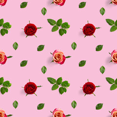 Rosebud seamless pattern. head of rose bloom isolated on pink pattern, pop art