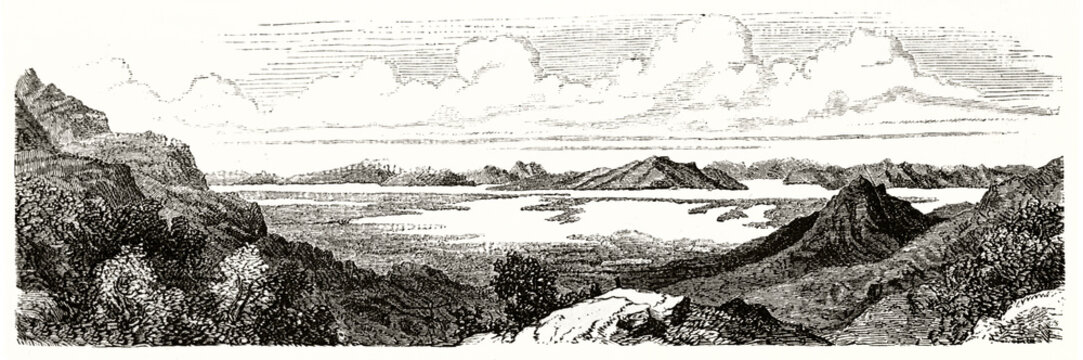 Great Salt Lake large overall horizontal view from a rocky shore, Utah. Ancient grey tone etching style art by Ferogio, Le Tour du Monde, 1862