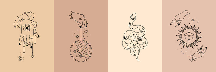 Vector poster set of mystical magic objects- woman hands, moon, sun, stars, planets, snake. Trendy minimal style, line art. Spiritual occultism objects. Fototapete