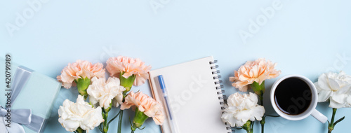 Design concept of Mother's Day greeting with carnation flower and holiday gift idea.
