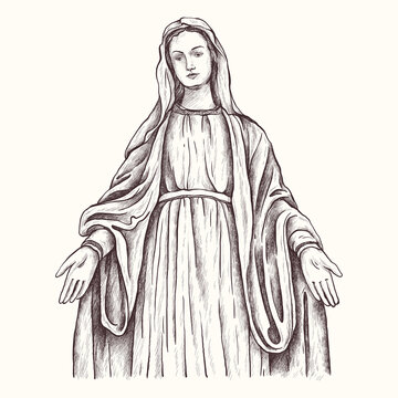 Holy Virgin Mary, Mother of God, Virgin Mary, Madonna, Mother of Jesus Christ, Christianity. Hand Drawn Sketch Illustration.