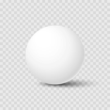 Realistic white sphere with shadow isolated on transparent background. Mockup template for your design. 3d ball or orb. Concept for advertising or presentation. Vector illustration