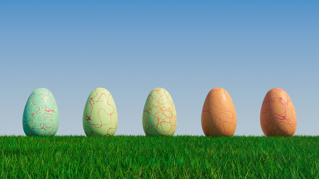 Easter Eggs on a grass lawn, with a clear blue sky. Beautiful Red, Green and Orange Eggs with Irregular Line patterns. 3D Render
