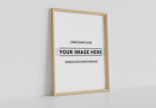 Wood Frame Leaning on Wall Mockup