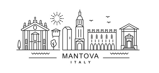 Mantova minimal style City Outline Skyline with Typographic. Vector cityscape with famous landmarks. Illustration for prints on bags, posters, cards.