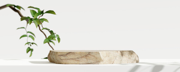 Wooden product display podium with blurred nature leaves background. 3D rendering  - fototapety na wymiar