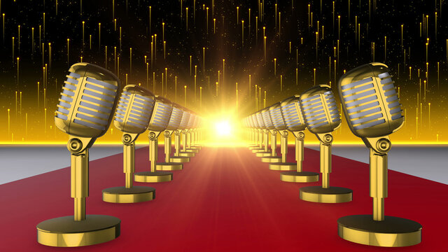 Abstract Microphones Background 3d render