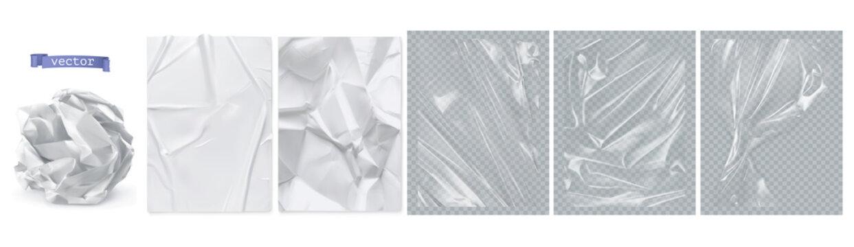 Crumpled paper, white paper, transparent plastic film. 3d realistic vector texture