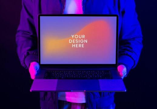 Man Showing Laptop Screen Mockup