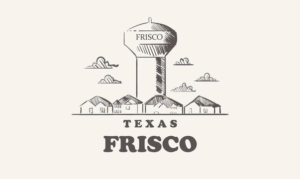 Frisco skyline, texas drawn sketch