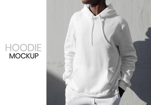 Simple White Hoodie Mockup Sporty Menswear