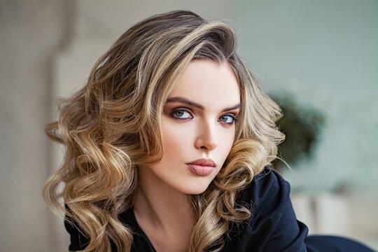 Beautiful smart woman face, close up portrait