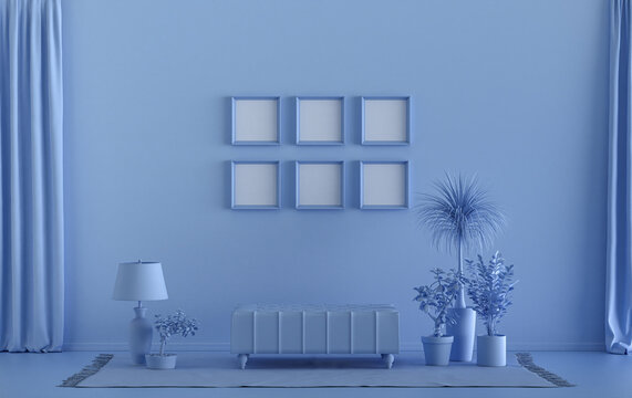 Mock-up poster gallery wall with six frames in solid pastel light blue room with furnitures and plants, 3d Rendering