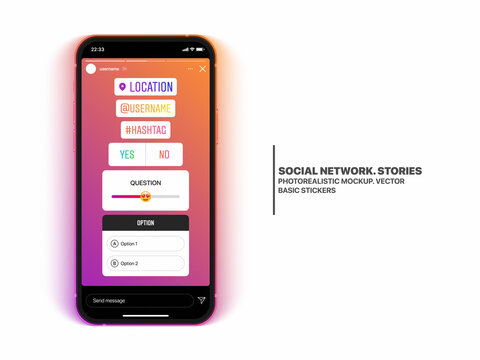 Social Media Network Instagram Stories Stickers Set On IPhone 12 Screen Vector Mockup Isolated On White Background. Stories Location Mention Hashtag Answer Question Quiz Guess Option Template