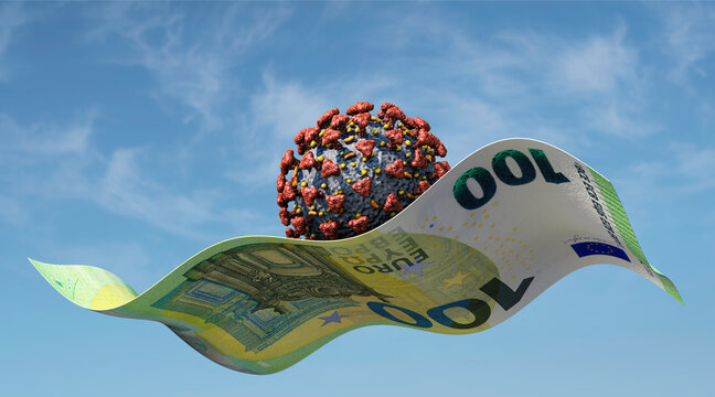 Virus fliegt auf einem 100 Euro-Schein