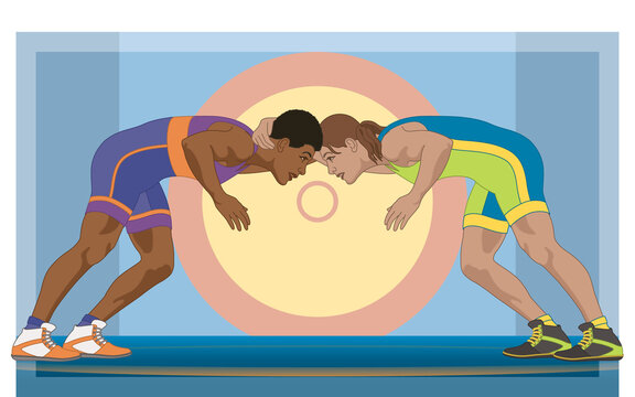 Two female wrestlers in greco-roman wrestling with mat in the background