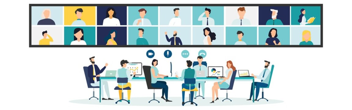 Online Virtual Meetings. Work from Home WFH During Coronavirus COVID-19 Pandemic Outbreak. Teleconference TV. Video Conference Webinars or Remote Working. Vector.