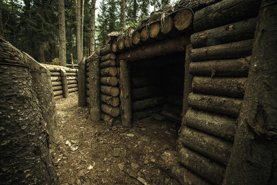 Military, wooden dugout of trees in the forest. Finnish World War II defense line on the Karelian Isthmus