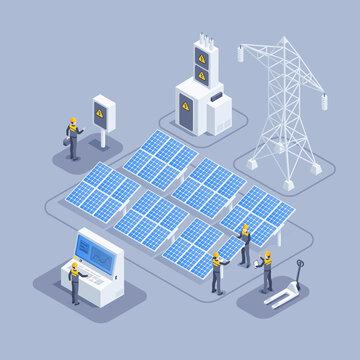 isometric vector illustration on gray background, workers install and configure solar panel system, green energy and conservation technologies