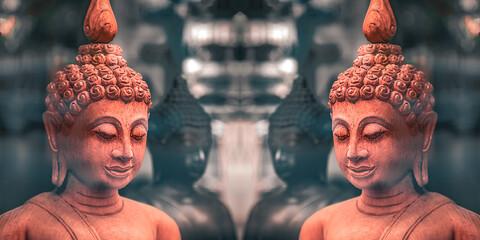 gespiegelter Buddha Jarven aus rotem Stein