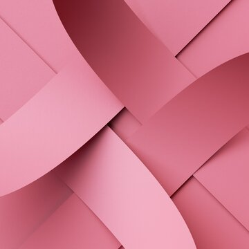 3d render. Abstract pink background with interlaced paper ribbons